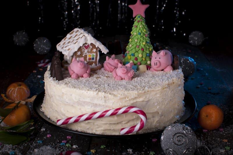 Cottura per vacanze Anno del maiale fotografia stock