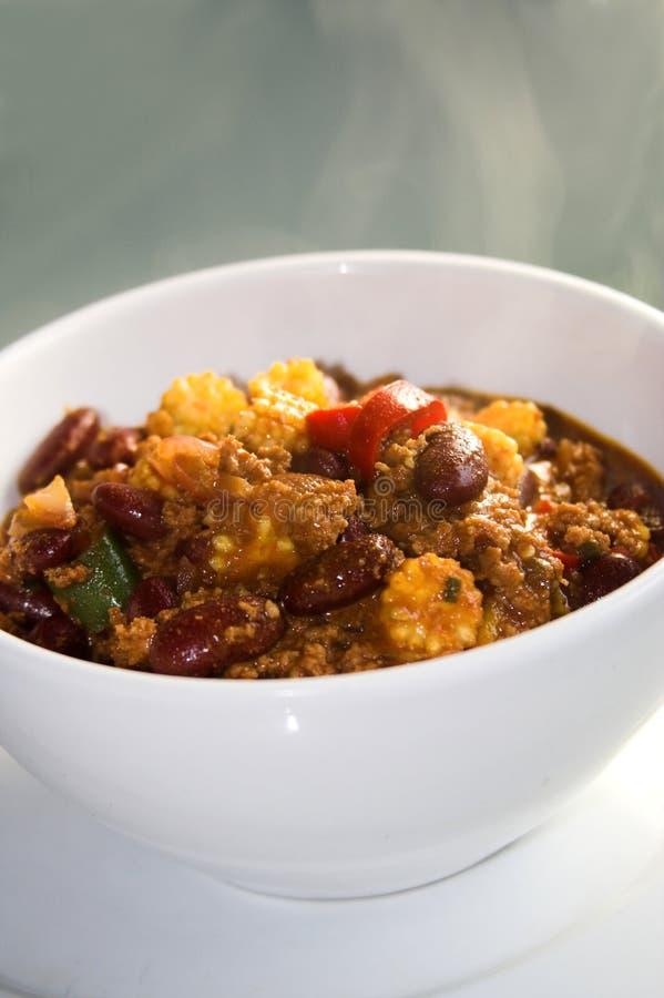 Cottura a vapore del chili con carne caldo fotografie stock
