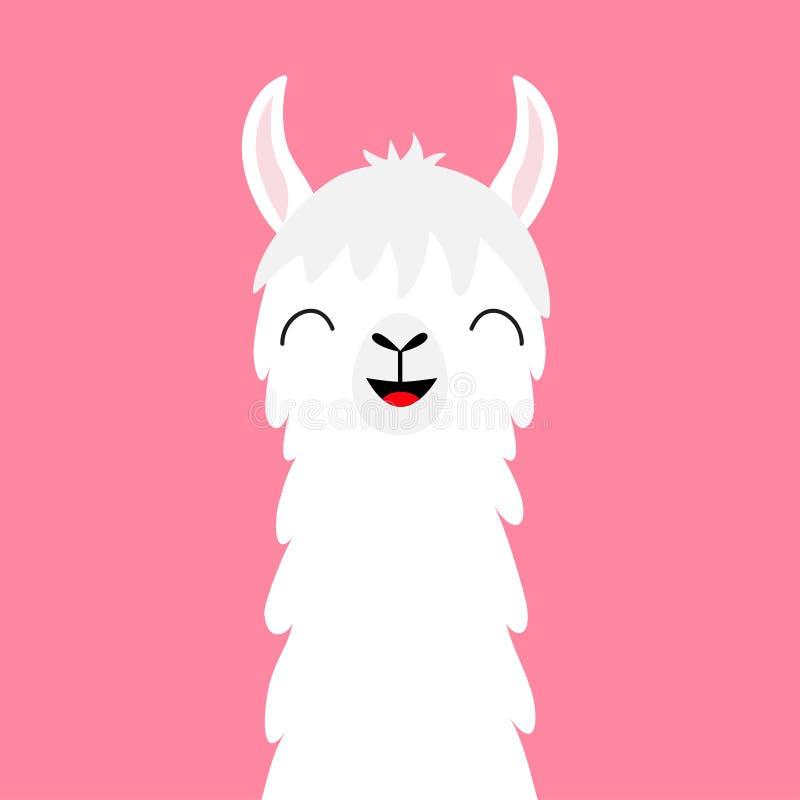 Cou animal de visage d'alpaga de lama Fourrure pelucheuse de cheveux Caractère de sourire de kawaii drôle mignon de bande dessiné illustration stock