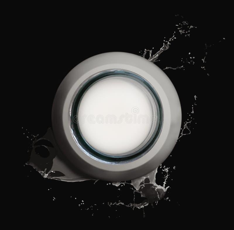 Cou de crochet de bouteille à lait et éclaboussure de lait photos stock