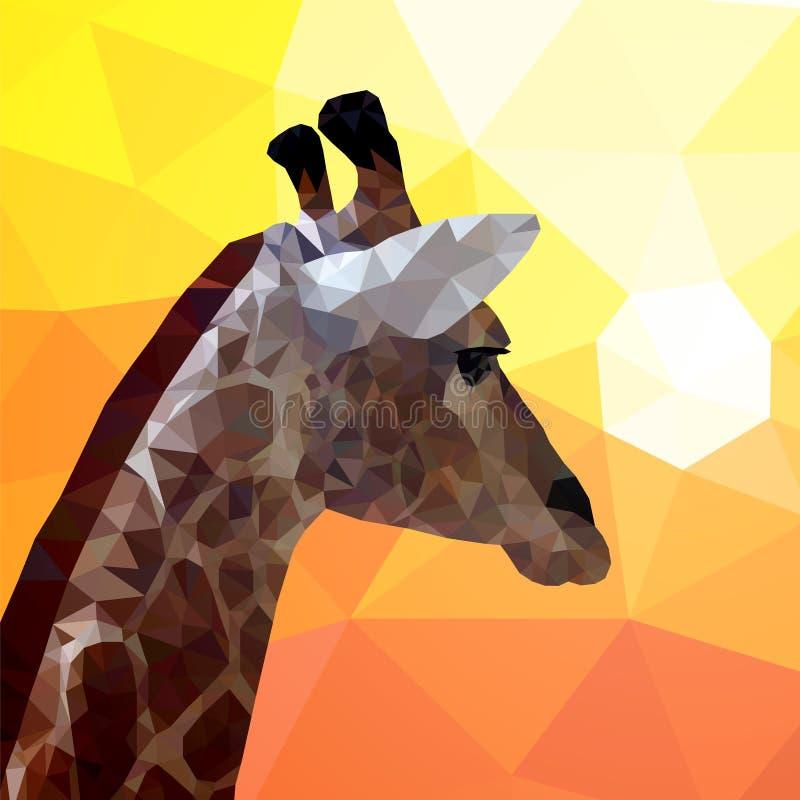 Cou et tête d'une girafe regardant le coucher du soleil Style de polygone Triangles colorées, mosaïque illustration stock
