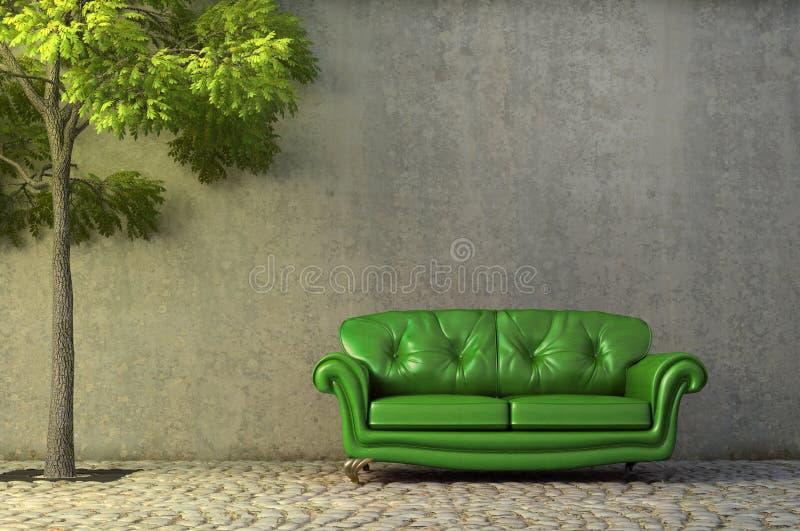 Couch auf einem seitlichen Weg vektor abbildung