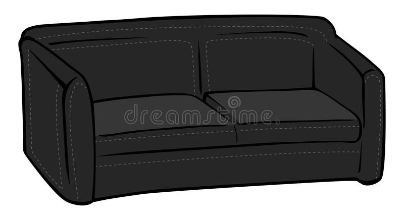 Download Couch black leather stock vector. Image of cartoon, futon - 16333666