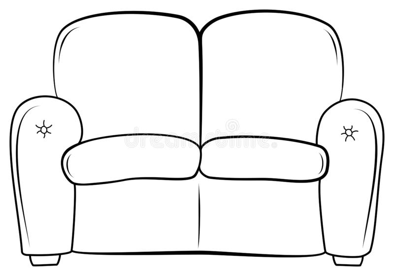 Couch outline icon. Hand drawn sketch sofa. Vector illustration upholstered seat. Coloring book for children royalty free illustration