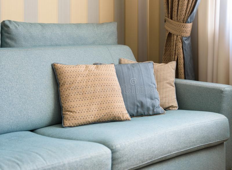 Couch or sofa with cushions in the home interior royalty free stock image