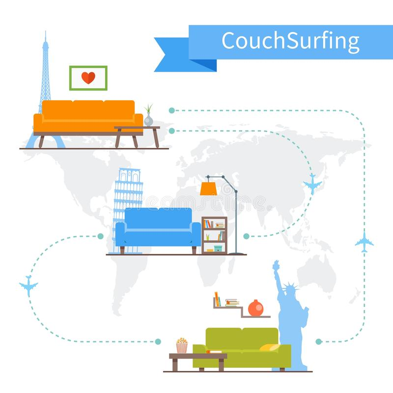 Couch Surfing and sharing economy concept. Vector royalty free illustration