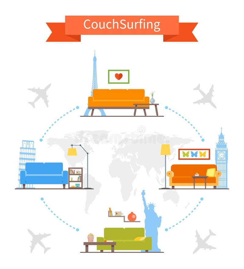 Couch Surfing and sharing economy concept. Vector stock illustration
