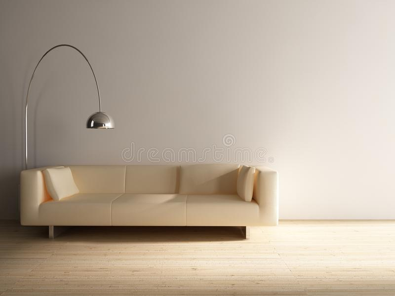 Download Couch to face a blank wall stock illustration. Image of furniture - 10770271
