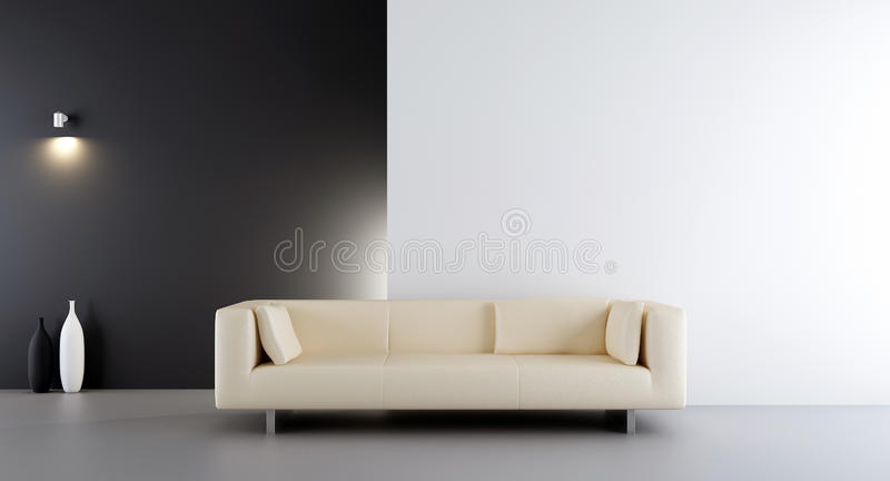 Couch to face a blank wall vector illustration