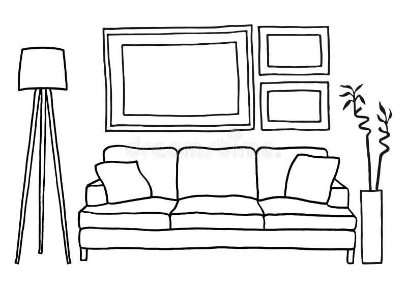 Couch und leere Bilderrahmen, Vektorspott oben vektor abbildung