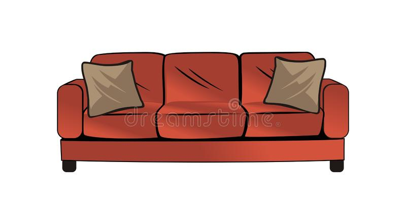 Couch vector design. Red couch design vector eps format royalty free illustration