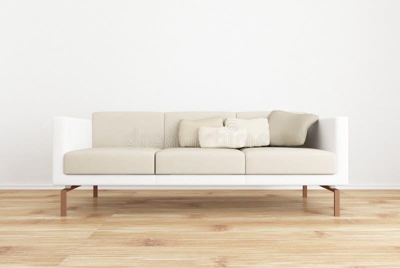 Couch, zum einer unbelegten Wand gegenüberzustellen lizenzfreie abbildung