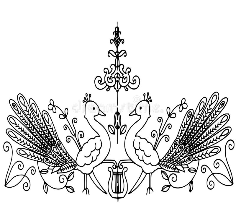 Couche avec deux paons illustration de vecteur