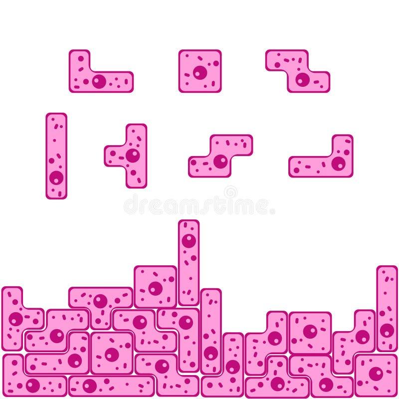Couche de tetris de forme de cellules épithéliales illustration de vecteur