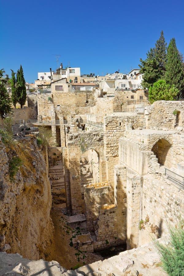 Couche et construction culturelles antiques de Jérusalem antique en Israël photographie stock