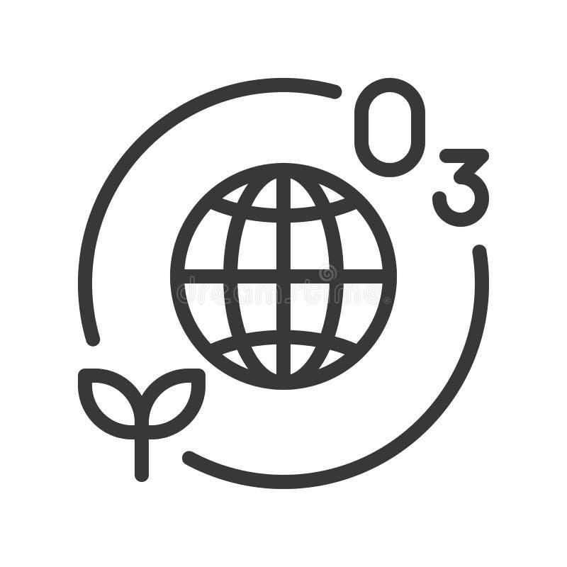 Couche et usine d'ozone avec l'icône de la terre de globe ou de planète illustration stock