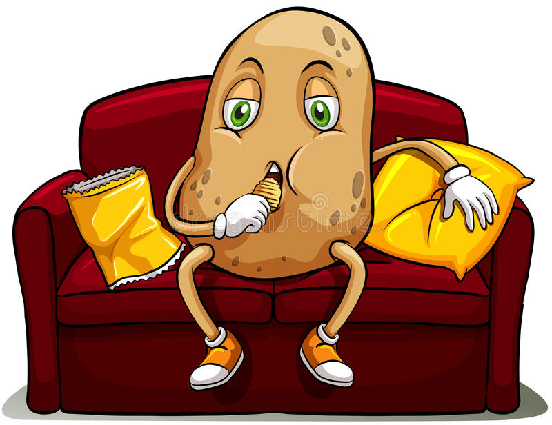 Couched potato on a red sofa stock illustration
