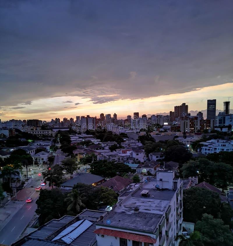 Coucher de soleil à Barranquilla en Colombie photo libre de droits