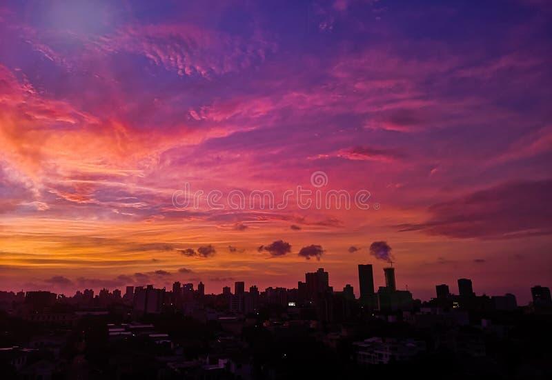 Coucher de soleil de Barranquilla en Colombie photo stock
