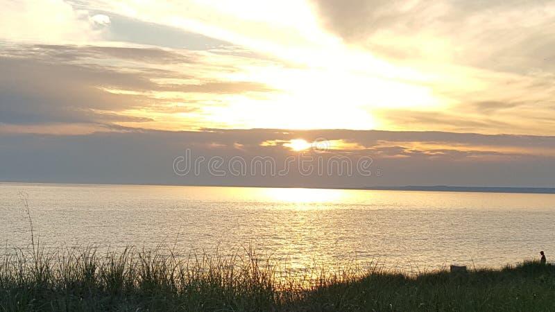 Coucher de soleil de St Ignace image libre de droits