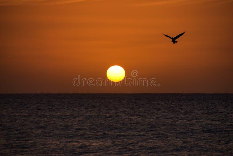 Coucher de soleil se reflétant toujours au-dessus d'un océan calme images stock