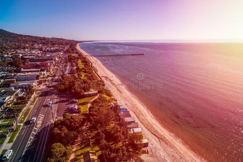 Coucher de soleil sur la côte de Dromana photo stock