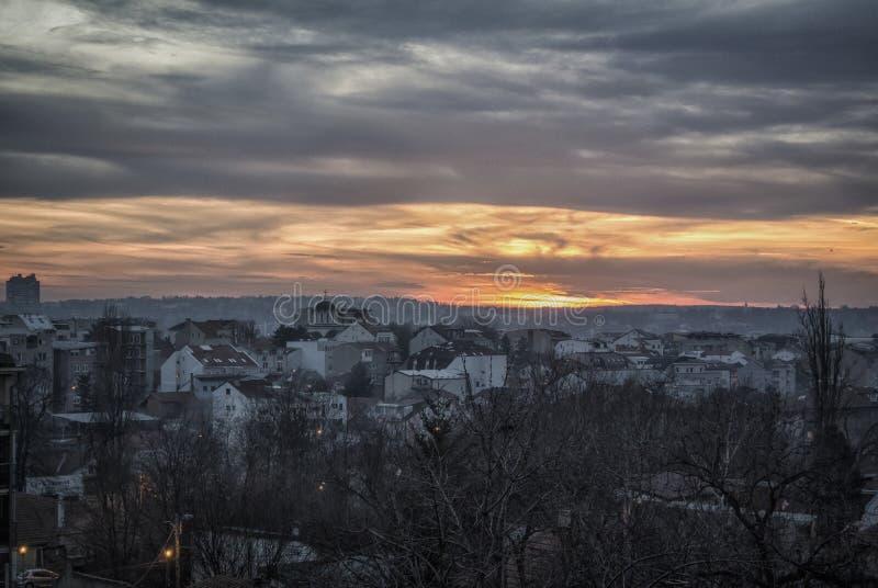Coucher du soleil à Belgrade photos stock