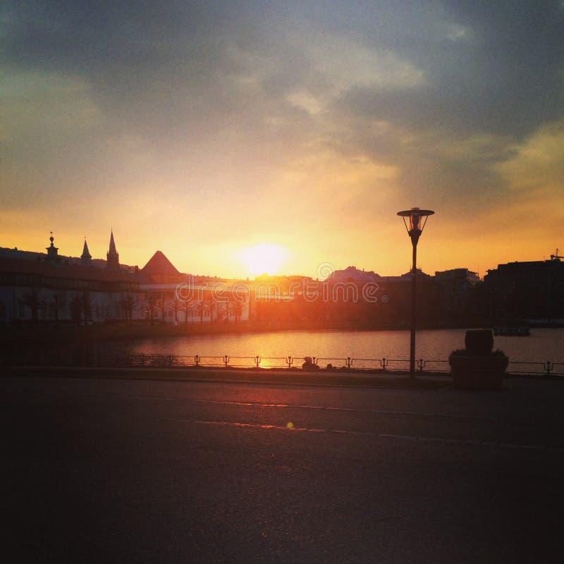 Coucher du soleil à Bergen image libre de droits
