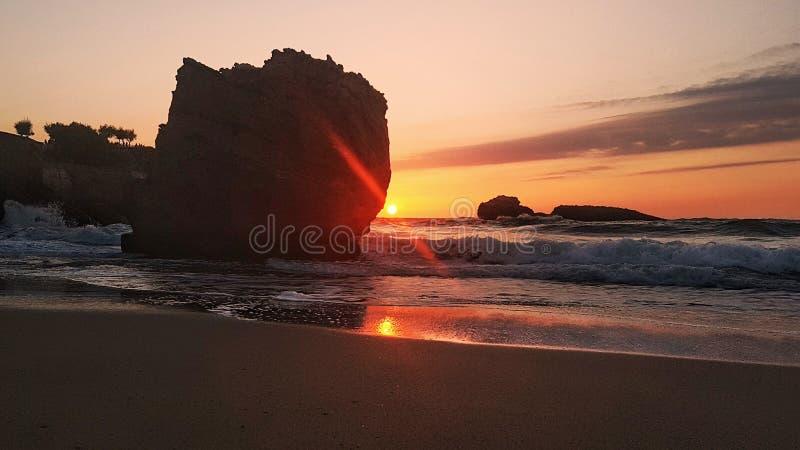 Coucher du soleil à Biarritz photographie stock libre de droits