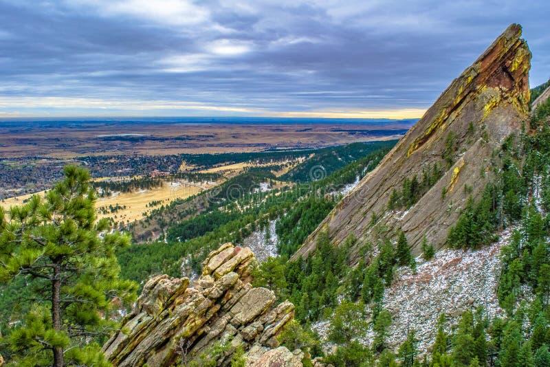 Coucher du soleil à Boulder, le Colorado images libres de droits