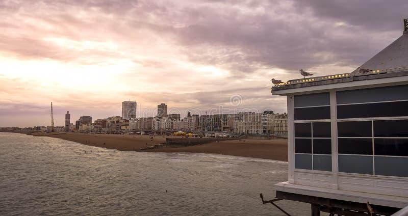 Coucher du soleil à Brighton photographie stock libre de droits