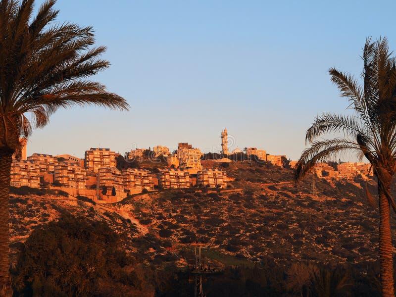 Coucher du soleil à Haïfa image stock