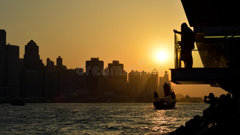 Coucher du soleil à Hong Kong photo libre de droits