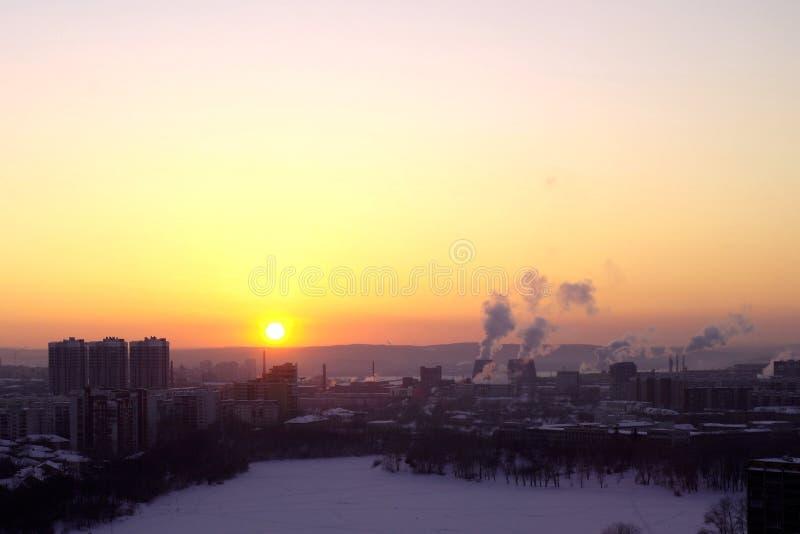 Coucher du soleil à Iekaterinbourg images libres de droits