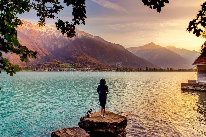 Coucher du soleil à Interlaken, Suisse photographie stock