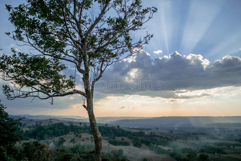 Coucher du soleil à l'arrière-plan de nature de soirée images libres de droits