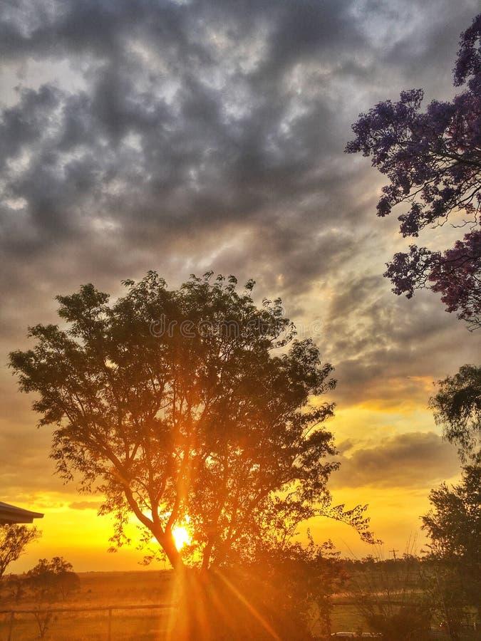 Coucher du soleil à l'Australie de Jimbour photos libres de droits