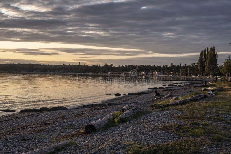 Coucher du soleil à la baie 5 de bouleau images stock