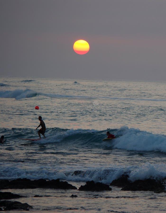 Coucher du soleil à la côte de kohala, grande île images libres de droits