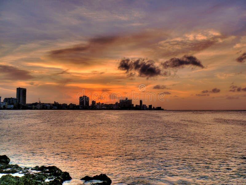 Coucher du soleil à la Havane, Cuba photographie stock libre de droits