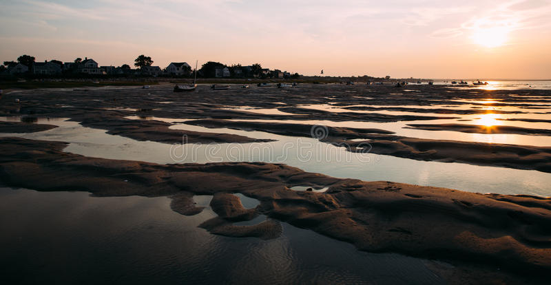 Coucher du soleil à la plage de Cape Cod images libres de droits