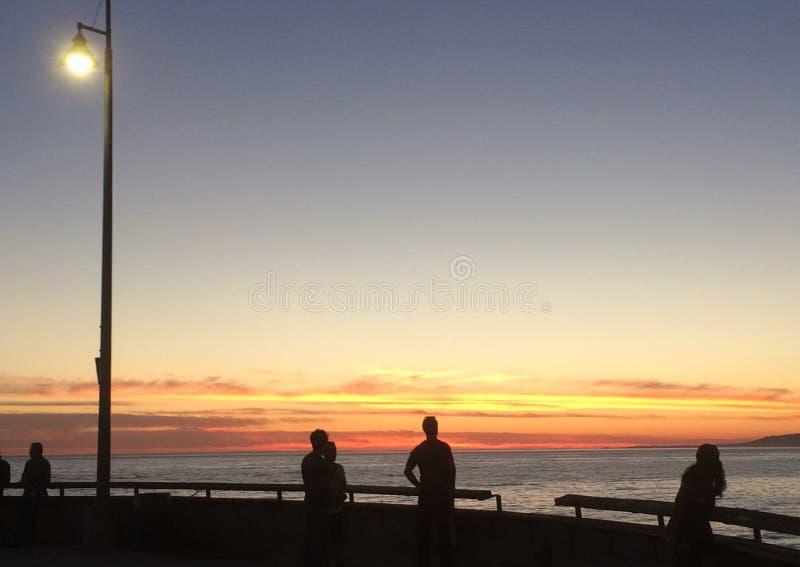 Coucher du soleil à la plage de Venise photos stock