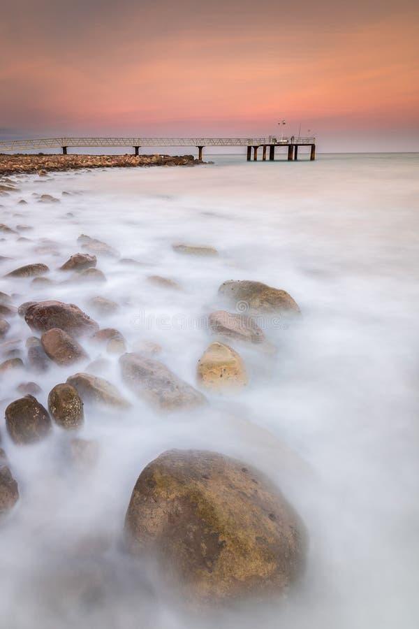 Coucher du soleil à la plage de Xilxes images libres de droits