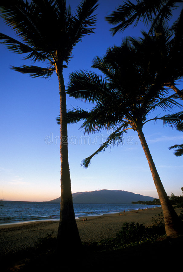 Coucher du soleil à la plage hawaian photo libre de droits