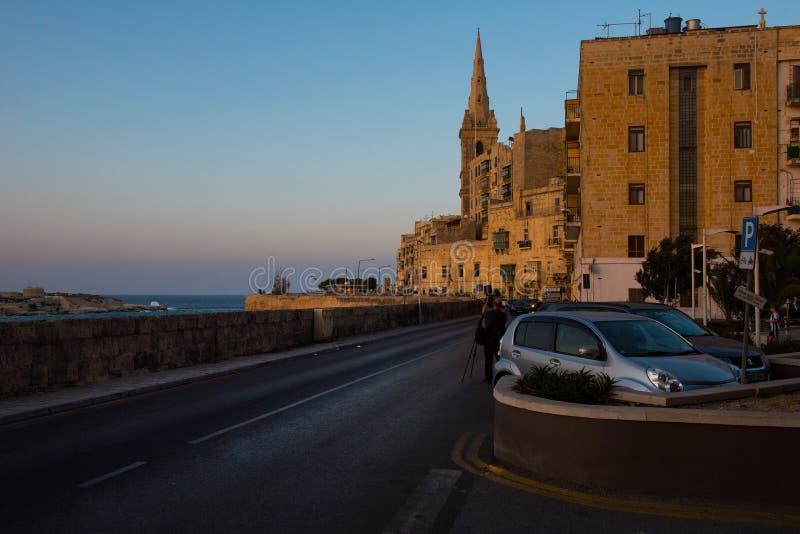 Coucher du soleil à La Valette, Malte photos stock