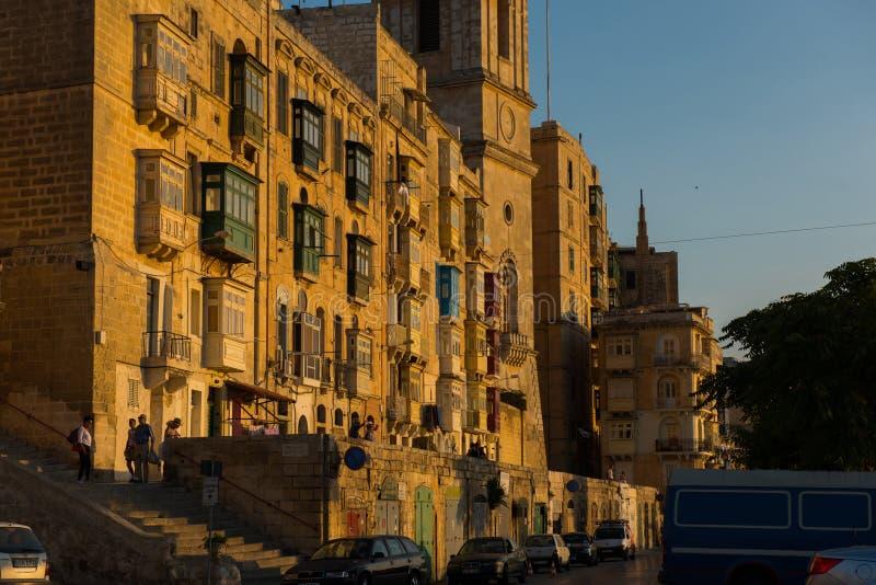 Coucher du soleil à La Valette, Malte photos libres de droits