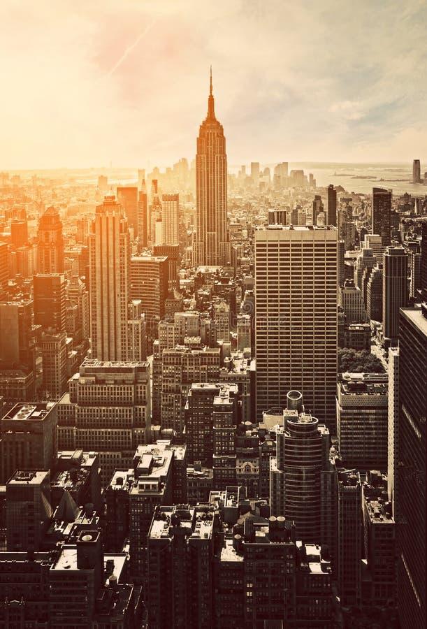 Coucher du soleil à Manhattan images libres de droits