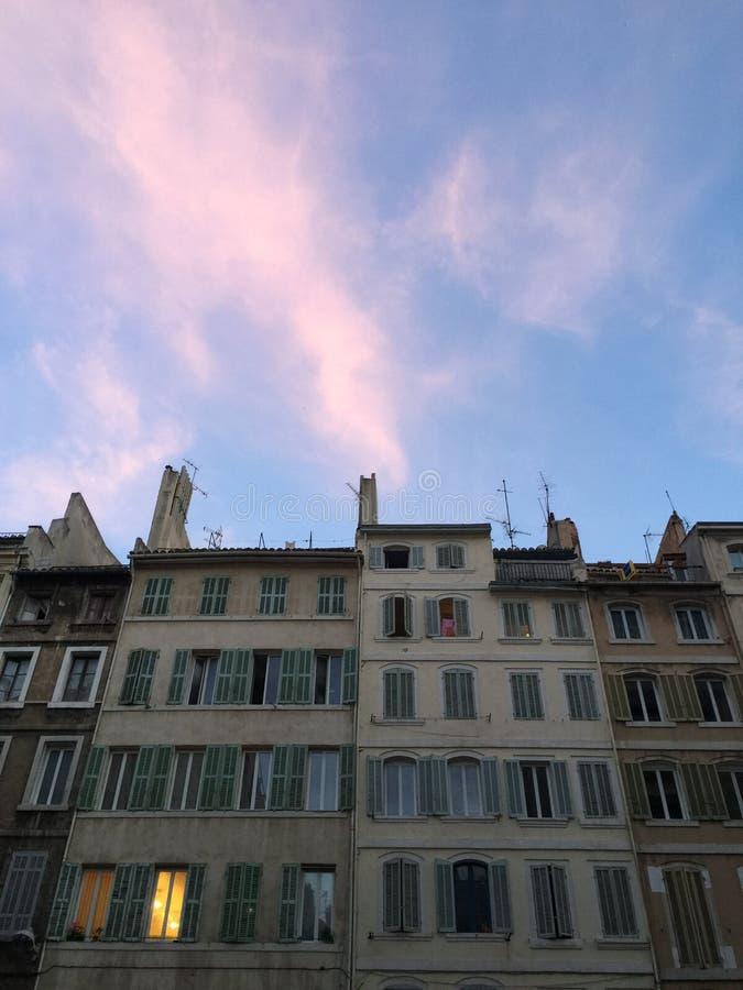 Coucher du soleil à Marseille photographie stock