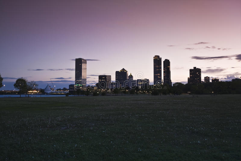 Coucher du soleil à Milwaukee photos libres de droits