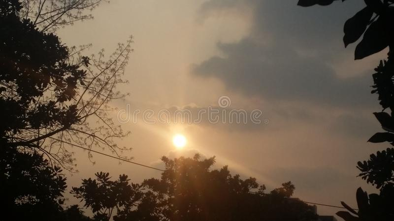 Coucher du soleil à Nanjing image stock